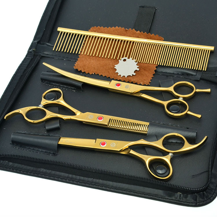 8.0 Professional Pet Scissors Set Dog Grooming Shears Straight &amp; Curved &amp; Thinning Scissors Kit JP440C, LZS0419<br>