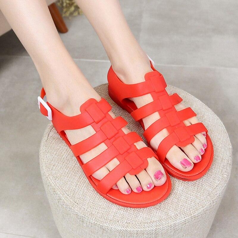 2017 Summer Large Size Flat Heel Women Sandals Shoes Roman Jelly Plastic Flats Student Casual Single Shoes Rain Sandals Big ZK4<br><br>Aliexpress