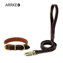 ARRKEO 26~33 CM Adjustable Leather Dog Collar Pet Collar Set with 120 CM Leather Dog Lead Leash for Small Dog Black Brown Red