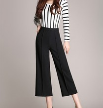New Fall Spring Summer Wide Leg Pants Black Sexy Ankle-Length Culottes Pants  Plus Size Loose Women Clothing Pants Woman