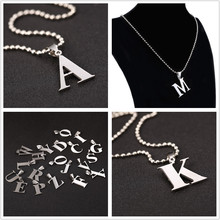 26 Letters Pendant Necklace Stainless steel Silver A-Z Letter Charm Pendant Necklaces Ball Chain Necklace Black Leather Chain
