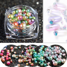 Mix Size 1 box Nail Art DIY Round Mermaid Pearls Gradient Shiny Rouse Red Purple Green Pearl Charms Nail Art Beads(China)