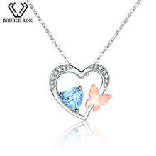 DOUBLE-R Genuine Natural Blue Topaz Heart Pendants Real 925 Sterling Silver Pendant necklaces Natural Gemstone Fine Jewelry(China)