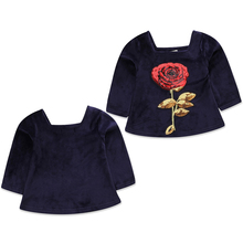 2018 New Fashion Long Sleeve Kids Baby Girl Royal Blue Princess Floral Pretty Dresses A Big Red Rose Outfits Clothes(China)