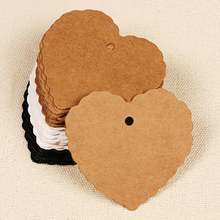 50PCS Heart shape Kraft Paper Hang Tags Wedding Party Favor Label Price Gift Card
