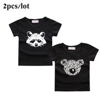 Sun Moon Kids 2PCS/Lot unisex boys t-shirt casual girls tops black cotton children tees tshirt autumn boy clothes for child(China)