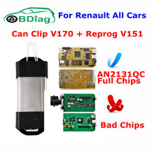 Reprog Gift 2017 Newest V170 For Renault Can Clip Full Chip Gold CYPRESS AN2131QC Clip For Renault Diagnostic Interface Scanner