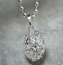 Chime Ball Harmony Silver Mexico  Relaxing Sounds Chime Bell 20mm Angel LU YING  Pendant necklace
