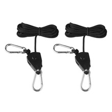 1pair 150lbs Load 1/8 Grow Light Rope Ratchet Lights Lifters Reflector Hangers for Reflector Hood Aquarium LED Plant Grow Tent(China)