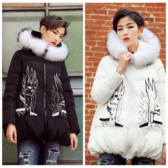 On Sale Real Raccoon Fur Hooded 2016 Winter Jacket Women Down parka medium-long embroidery down coat Womens Outwear Down coat<br><br>Aliexpress