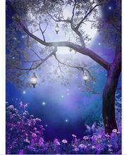 5x7FT Blue Sky Halloween Night Moon Purple Flowers Garden Lanterns Custom Photo Studio Backdrops Background Vinyl 220cm x 150cm(China)