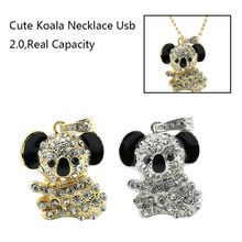 New arrive Gold Mouse Usb Flash Drive 4GB 8GB 16GB 32GB 64GB Animal Koala Crystal Rhinestone Usb Pen Drive U Disk(China)