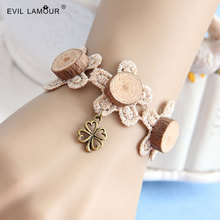 Summer Style Wood Lace Bangles Bracelets for Women Party Jewelry Accessories Hand Craft Fashion Charm Bracelet 015 Brand WS-296