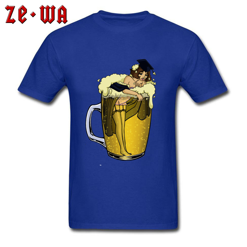Man Top T-shirts pin up girl in beer Funny Tops Tees Pure Cotton Round Neck Short Sleeve Design T Shirt Summer/Autumn pin up girl in beer blue