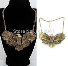 FD426 Fashion Fine Vintage Retro Punk Choker Chain Bird Hawk Eagle Wing Pendant Bib Necklace
