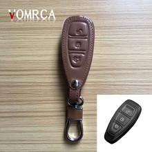 High quality 3 button leather car remote control key case for Ford Focus 3 classic design MK3 Kuga FugaST RS dust collector