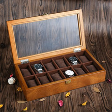 YA Quanlity 12 Slots Wooden Watch Box Fashion Retro European Style Watch Storage Case Wood Watch And Jewelry Gift Boxes C040(China)