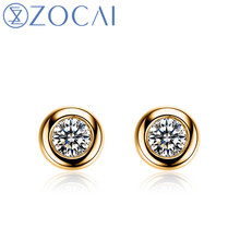 New Arrival ZOCAI 0.22 ct certified real diamond earrings 18K yellow gold diamond earrings 18K rose gold & 18K white gold E00854(China)