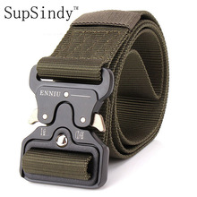 SupSindy men's canvas belt Metal insert buckle military nylon Training belt Army tactical belts for Men Best quality male strap(China)