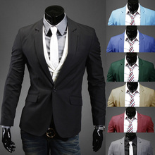 Casual Slim Stylish fit One Button Suit men Blazer Coat Jackets men garment(China)