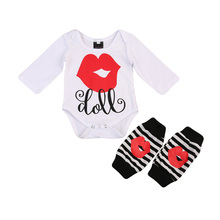Baby girl Big Lips clothes Toddler Newborn Baby Girls long sleeve Romper+Leggings Outfits Clothes Set Autumn baby girl clothing(China)