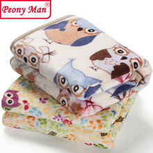 High Quality Baby Blanket Cartoon 80x100 Cobertor Aircon Child Sheet Thick Warm Peony Man Blankets Super Soft Flannel Fleece(China)