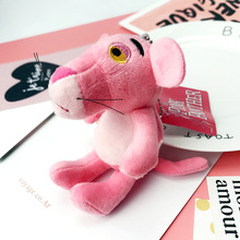 Cartoon Cute Doll Animal Pink Cloth Plush Panther Keychain Key Chains Women Car Bag Charms Pendant Gift Accessories Porte Clef(China)