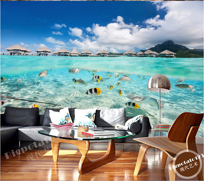 The custom 3D murals,blue sky and white clouds by the sea colorful fish landscape ,living room sofa TV wall bedroom wall paper<br>