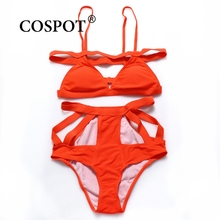 COSPOT Bikinis Women 2017 Hollow Out Orange Bikini Set High Waist Swimsuit  Bandage Women Swimwear Sexy Wirefree Beachwear