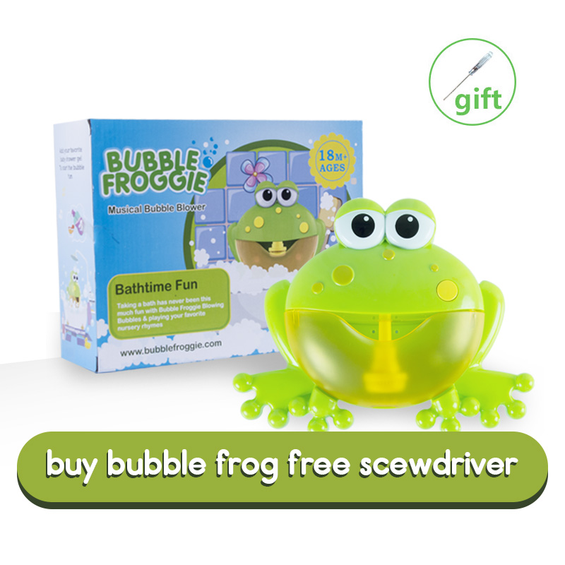 Activity & Entertainment Baby Bath Bubble Maker Music Frog Automatic Spout Bubble Kids Foaming Machine Bathroom Water Toys Tub Bright Big Frog with 12 Nursery Rhyme Bath Toy for Baby Shower Bath Toys