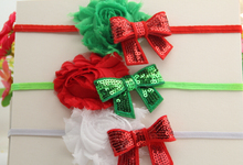 18pcs/lot Red Green Print FOE Elastic Headband Christmas Headband Children Flower Hair Accessories Free Shipping(China)