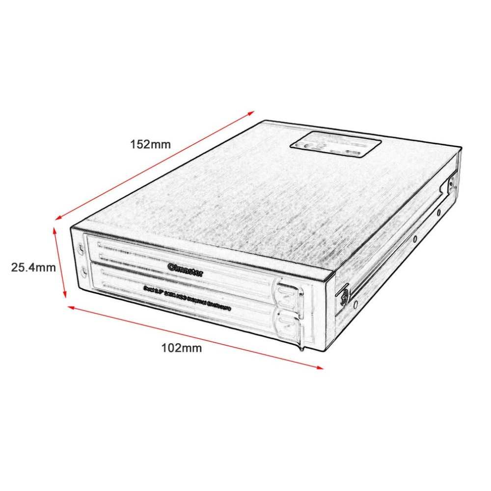 OImaster HE-2005 2.5 Inch SATA HDD Internal Enclosure Hard Drive Case Internal Mobile Rack With LED Indicator Support 2 Drives