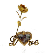 24k Gold Foil Plated Rose Gold Rose with love stand frame Decoration Flower Valentine's Day Gold Dipped Rose artificial flower(China)