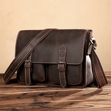 Genuine Leather Crazy Horse Cowhide Cross Body Shoulder Bag Men Laptop Business Briefcase Brand Famous Trend Messenger Bags(China)