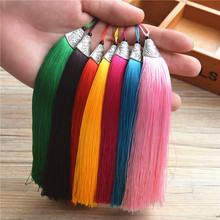 2pcs/lot 17cm Long Tassel Silk Brush Earrings Cap Accessories Tassel for Necklace Bag Car Keychain Hand Made Jewelry Findings(China)