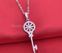 Brand new 925 sterling silver key necklace sunflower jewelry for women cubic zirconia necklace