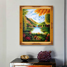 Artist sales hand painted oil paintings peaceful lake European style home art wall art on canvas(China)