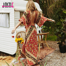 Jastie Vintage Floral Print Long Maxi Dress V-Neck Backless Sexy Dress Cut Out Waist Boho Beach Dresses Chic Women Vestidos