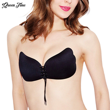 Queen time Women Self Adhesive Strapless Bandage Stick Gel Silicone Push Up Invisible Bra 2 styles