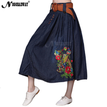 2017 autumn high waist denim skirt women long skirt maxi pleated flower embroidered jeans skirts ladies vintage casual saias 5XL