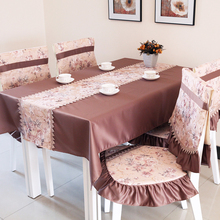 Letze fashion classic dining table cloth fabric tablecloth hydrotropic cushion dining chair cushion back chair covers set