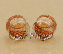 2pcs rose gold glitters ear plug gauges transparent acrylic flesh tunnel liquid plugs body piercing jewelry PLP0008(China)