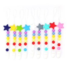 Buy Baby Nipple Clip Soft Silicone Bead Teether Pacifier Star Newborn Infant Soother-m15 for $2.54 in AliExpress store