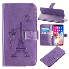 GUCOON Embossed PU Leather Case for Aligator S5500 Duo HD IPS 5.5inch Eiffel Tower Flowers Butterfly Flip Wallet Cover