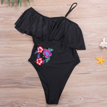 MANYIER 2018 Women Swimwear One-shoulder Flounced One Piece Swimsuit Black Thong Monokini Beach Slim Female Bather Swim Suit(China)