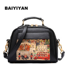 Classic PU Leather Women Retro Handbags Oil Picture Pattern Women Vintage Shoulder Bag Fashion Female Casual Tote Bags(China)