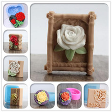 3D Rose flower Square shaped Silicone Soap mold Craft Molds DIY Handmade soap molds(China)