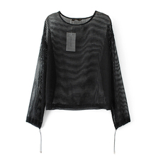 2017 summer new European style hollow grid sexy 7 sleeve black shirt mesh Hoodie.