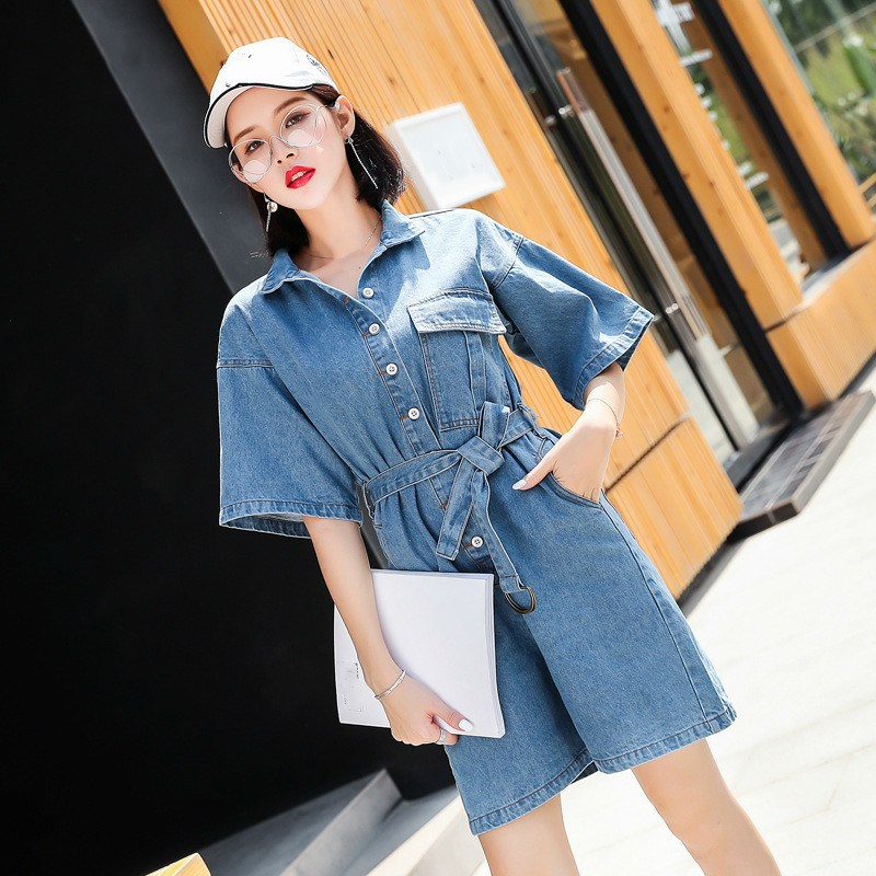 Women Short Sleeve Jeans Rompers Female Casual Denim Short Jumpsuit Playsuit With Belt Overall
