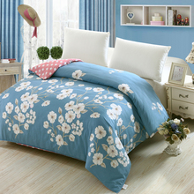 New 100% cotton duvet cover Printed colored plaid quilt case for bed twin full king queen size brief blue white flower style(China)